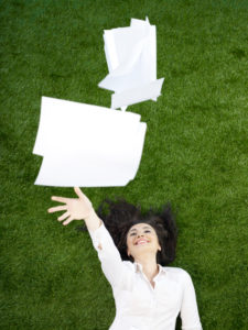 Woman Releasing Files