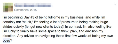 """One of my Uplevel Academy clients reaching out for """"boss"""" advice!"""